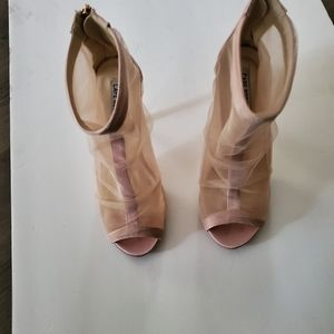 Cape Robbin peek toe blush mesh and satin booties